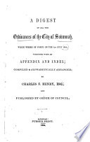 A Digest of All the Ordinances of the City of Savannah which where of Force on the 1st July 1854