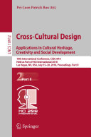 Cross Cultural Design  Applications in Cultural Heritage  Creativity and Social Development