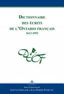 Pdf Dictionnaire des écrits de l'Ontario français Telecharger