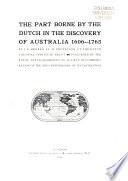 Aandeel Der Nederlanders in de Ontdekking Van Australie 1606 1765
