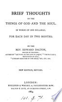 Brief Thoughts On The Things Of God And The Soul Book PDF