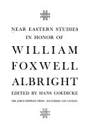 Near Eastern Studies In Honor Of William Foxwell Albright