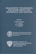 Proceedings of the Electrochemical Society Symposium on Diagnostic Techniques for Semiconductor Materials and Devices ebook