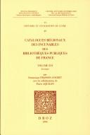 Catalogues régionaux des incunables des bibliothèques publiques de France