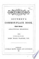 Southey s common place book  Ed  by J W  Warter