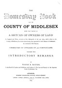 Pdf The Domesday Book for the County of Middlesex