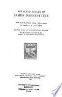 Selected Essays of James Darmesteter