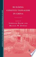 Building Constitutionalism in China Book