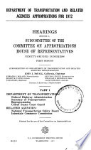 Department of Transportation and Related Agencies Appropriations for 1972  Hearings      92d Congress  1st Session Book