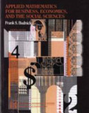 Cover of Applied Mathematics for Business, Economics and the Social Sciences