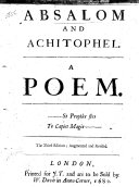 Absalom and Achitophel  A poem  By John Dryden