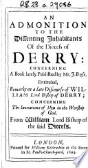 An Admonition to the Dissenting Inhabitants of the Diocess of Derry
