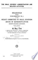 The Small Business Administration and Related Activities