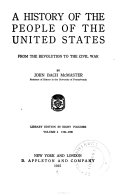 A History of the People of the United States from the Revolution to the Civil War  1784 1790 Book