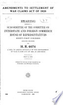 Amendments to Settlement of War Claims Act of 1928