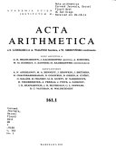 Acta Arithmetica