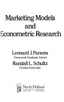 Marketing Models And Econometric Research