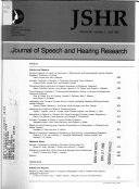 Journal of Speech and Hearing Research Book