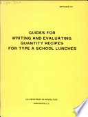 Guides For Writing And Evaluating Quantity Recipes For Type A School Lunches PDF