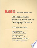 Cover image of Public and private secondary education in developing countries : a comparative study