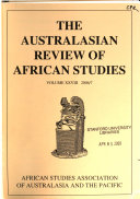 The Australasian Review of African Studies Book PDF