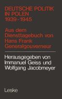 Deutsche Politik in Polen 1939–1945 [Pdf/ePub] eBook