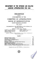 Department of the Interior and related agencies appropriations for 1982