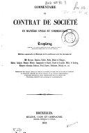 Commentaire du contrat de société en matière civile et commerciale