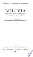 Bolivia; Economic and Commercial Conditions in Bolivia