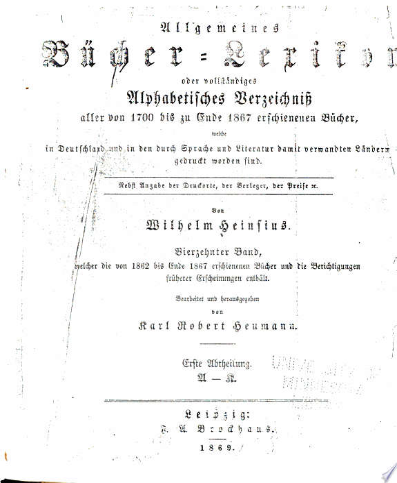 Allgemeines buecher-lexikon, oder V