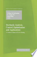 Stochastic Analysis  Control  Optimization and Applications