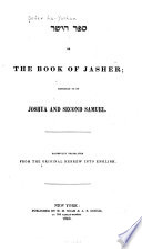 Sefer Ha-yashar, Or, The Book of Jasher