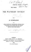 Who Wrote the Waverley Novels?