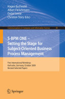 S BPM ONE  Setting the Stage for Subject Oriented Business Process Management
