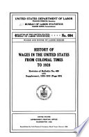 History of Wages in the United States from Colonial Times to 1928