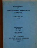 A Bibliography of Public Personnel Administration Literature  Supplement  No  1 8