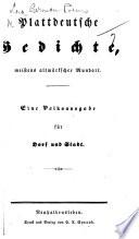 Plattdeutsche Gedichte, meistens altmärkscher Mundart. Fin Volksausgabe, etc. [Friedrich Ernst.]