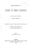 Teuffels   History of Roman Literature