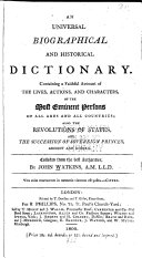 An Universal Biographical and Historical Dictionary