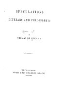 The    Works of Thomas De Quincey   The English Opium Eater
