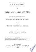 Hand Book Of Universal Literature From The Latest And Best Authorities