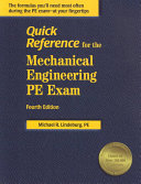 Quick Reference for the Mechanical Engineering PE Exam Book