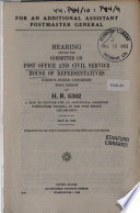 For an Additional Assistant Postmaster General .... Hearing ... on H.R. 5302 .. May 28, 1953.(83-1)