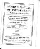 Pdf Moody's Manual of Investments, American and Foreign