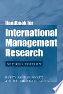 Handbook for International Management Research Book