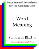CCSS RL.3.4 Word Meaning
