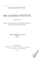 Proceedings of the Canadian Institute