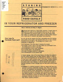 Storing Food Safely in Your Refrigerator and Freezer Book PDF