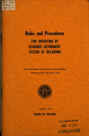 Rules and Procedures for Operation of Teachers  Retirement System of Oklahoma