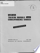 List Of Training Manuals And Correspondence Courses